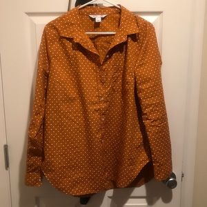 Polka Dot button down shirt, beautiful fall color!